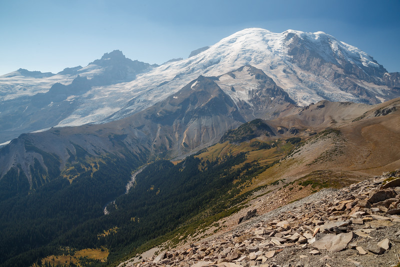Rainier, Sunrise - Hazy view of the White River valley from Burroughs Mountain