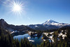 Rainier, Tolmie - Eunice Lake and Rainier from above with sun star
