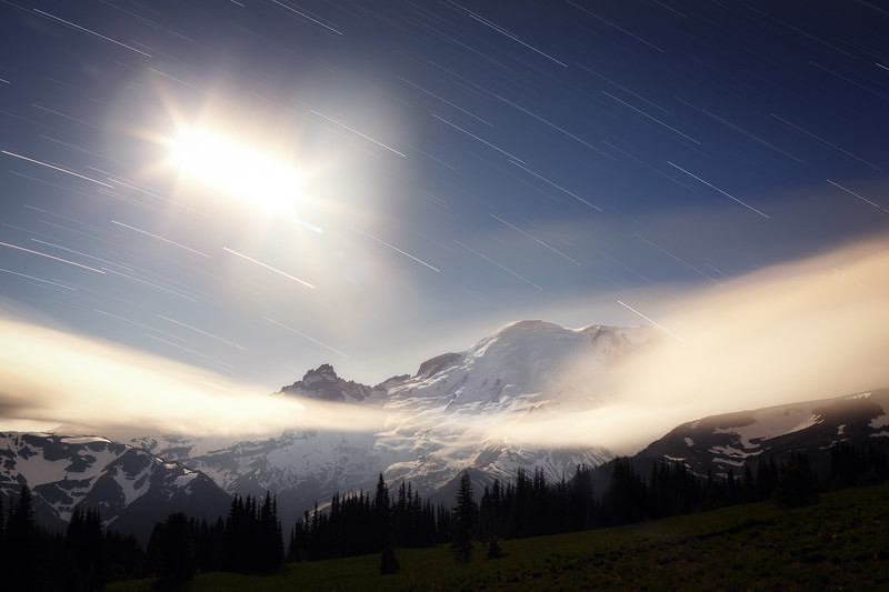 Rainier, Sunrise - Star trails with the moon and clouds on a windy night, wide frame
