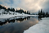 Rainier, Tipsoo - Upper Tipsoo Lake in the snow clouds reflected at sunset