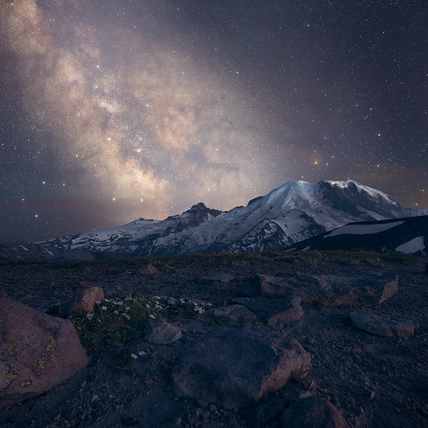 Rainier, Sunrise - Milky Way over Mt. Rainier from Burroughs