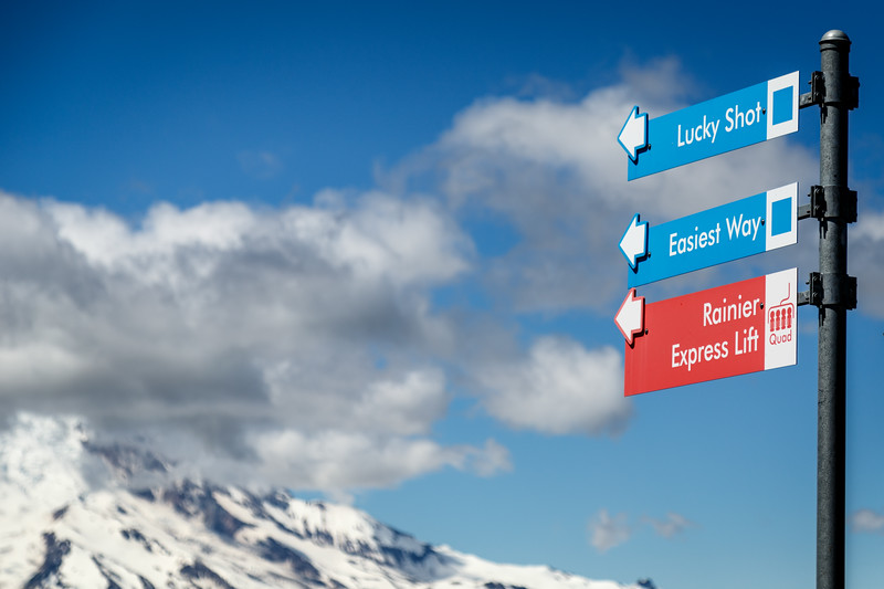 Rainier, Crystal - Trail signs at the ski resort with Mt. Rainier in the distance