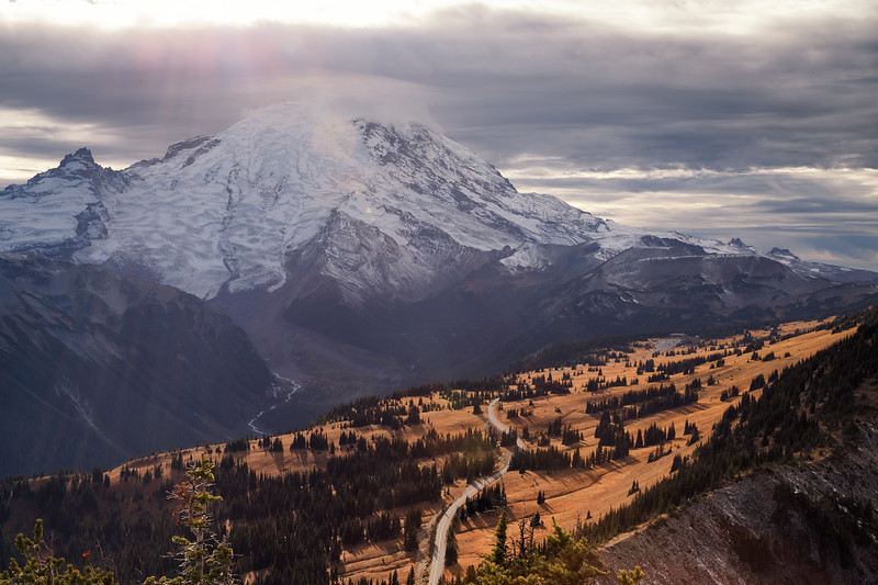 Rainier, Sunrise - View of the Sunrise area from the summit of Dege