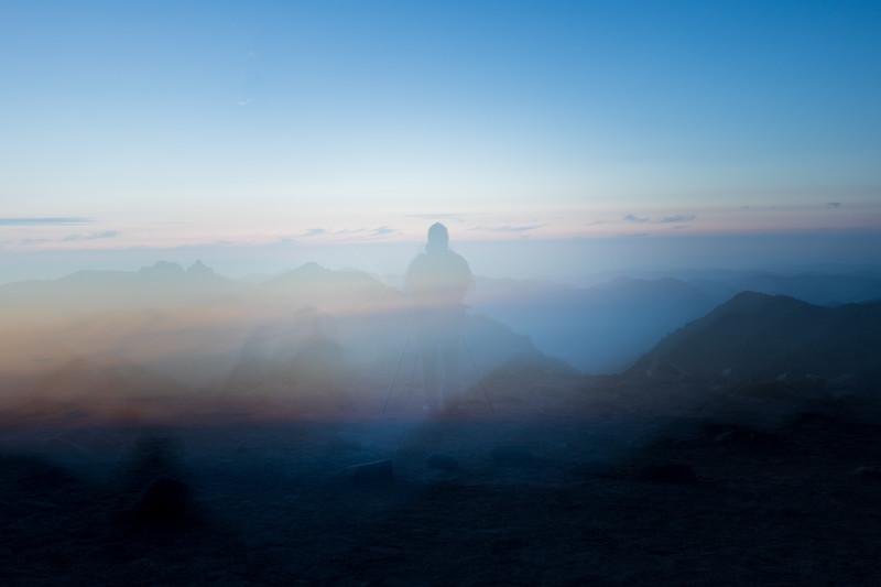 Rainier, Sunrise - Accidental double exposure of photographer on ridge at sunset
