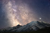 Rainier, Sunrise - Milky Way in long focal length in classic position behind Rainier