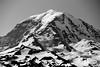 Rainier, Tolmie - Liberty Ridge view of Mt. Rainier summit as seen from Tolmie Peak, black and white