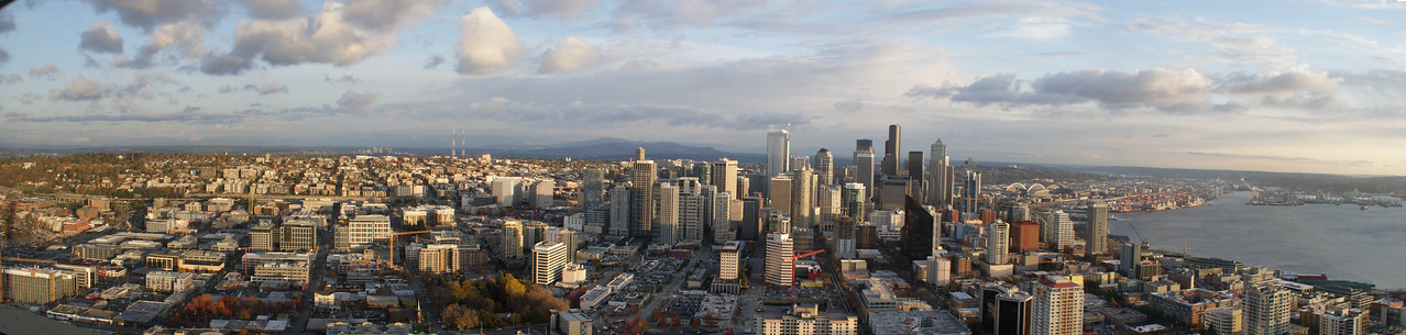 Seattle panoramic photo from the top of the Space Needle, Seattle, WA, Nov 2012