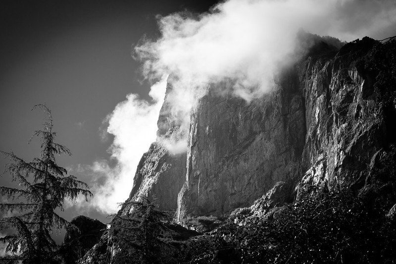 Wild Sky, Barclay Lake - Cliffs of Barclay Mountain in the clouds, black and white