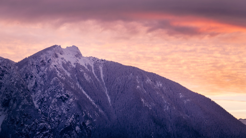 North Bend, Snoqualmie Point Park - Pink and orange sunrise over Mt. Si