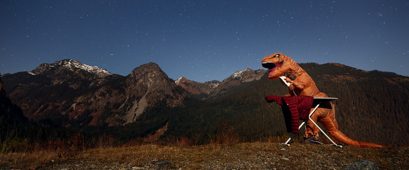 Snoqualmie Pass, Ski Area - T-rex ironing under the stars