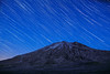 St. Helens, Plains of Abraham - Mt. St. Helens with star trails at blue hour