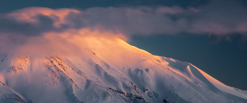 St Helens, Coldwater - Alpenglow on St. Helens summit at sunset