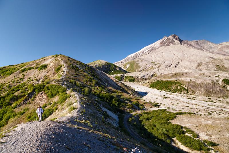 St. Helens, Plains of Abraham - Hiker walking up ridge away from Mt. St. Helens