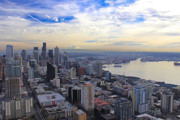 Mount Rainier and the Seattle skyline