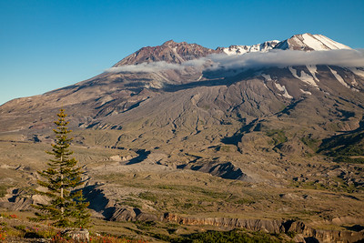 Clouds encircle the dome of Mount St. Helens