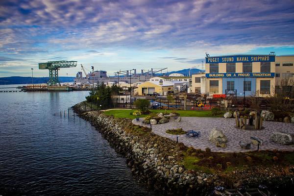 Naval shipyard in Bremerton, WA