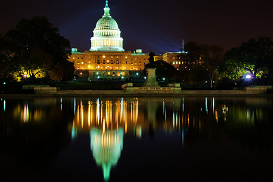 US Capitol Dome in reflection