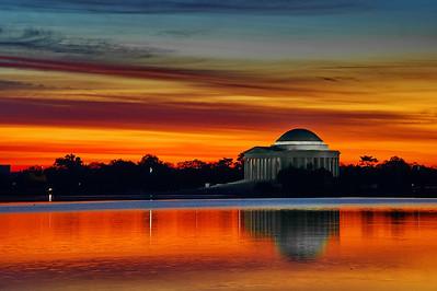 Jefferson Memorial at dawn across the tidal basin