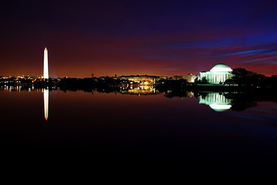 Washington Memorial and Jefferson Memorial reflections in the Tidal Basin