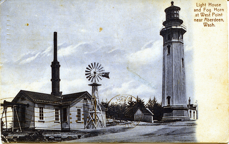 A turn of the century postcard view of the Grays Harbor Lighthouse which shows the fog signal building which burned down in 1916.