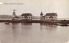 A turn of the century postcard showing the original Mukilteo Light Station shortly after its completion. The windmill also housed a work room, oil and coal storage and a water tower.