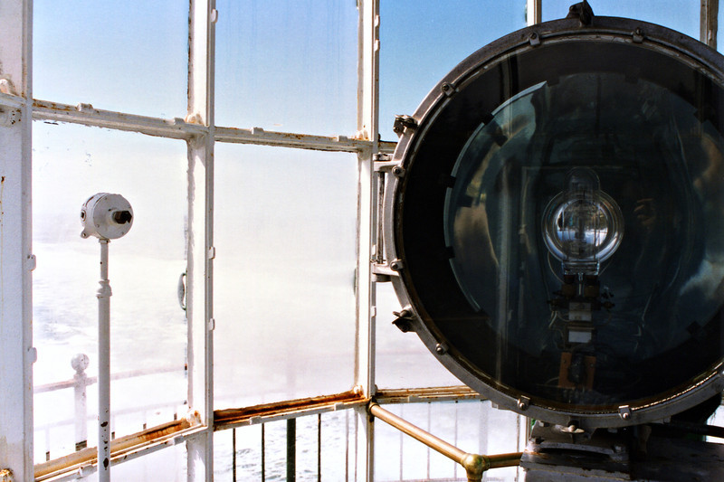 A view of the aerobeacon which replaced the 4th Order lens in the 1950's. It is currently not in use, but a modern optic was placed outside the tower in 1961. I first arrived at the light at night and was disappointed to see the small light in use.