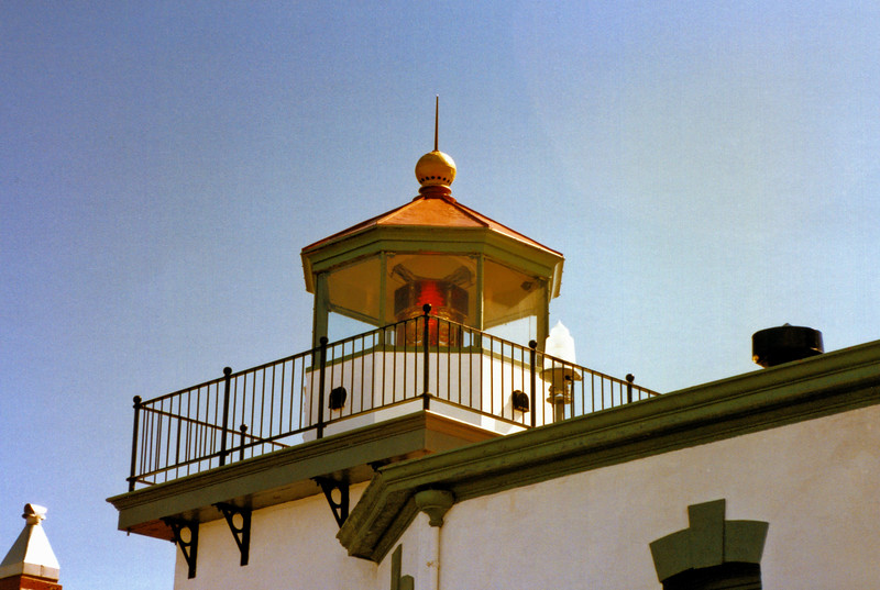 The lantern was fitted up with a 4th Order Fresnel lens with 12 bull's-eyes alternating red and white flashes every 5 seconds.  A kerosene lamp provided the illumination and was visible for 15 miles.  The lighthouse was electrified in 1926 and an electric bulb replaced the kerosene lamp.