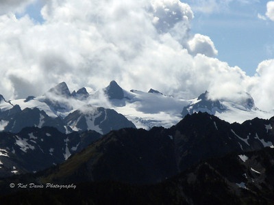 Close-up of far-away peaks in the Olympic Mountain range from Hurricane Ridge.