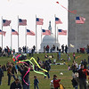 Flying kites at the Washington Monument at the annual Kite Festival, March 29, 2008. The U.S. Capitol is in background. Lincoln Memorial