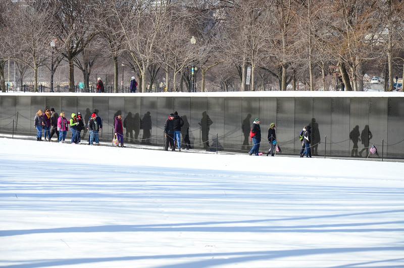 Snowy day at the Vietnam Veterans Memorial, Washington DC.