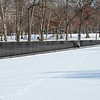 Snowy day at the Vietnam Veterans Memorial, Washington DC.