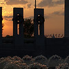 World War II Memorial, Washington DC, dawn, April 16, 2010. Lincoln Memorial