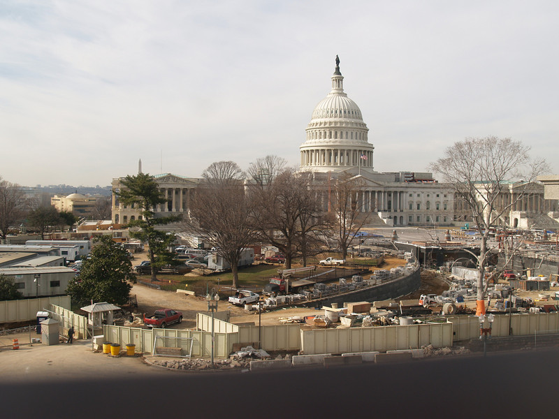 U.S. Capitol, east front, with visitor center construction, January 20, 2006.