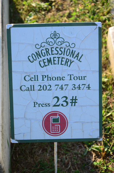 Cell phone tour marker for DC madam Mary Hall.  Congressional Cemetery, Washington DC