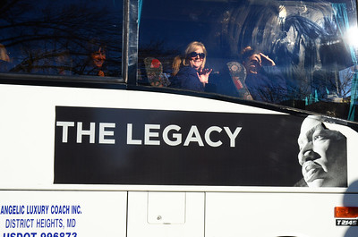 Saturday, January 19, 10:11AM. Already the big coaches are rolling into the city.