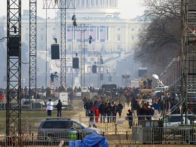 Obama Boom Boxes - the big audio speakers suspended on towers - ready for the big speech on the 20th