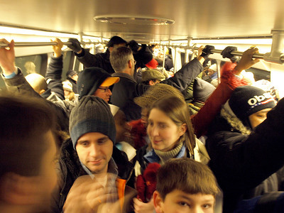 On the Yellow Line,8:06AM January 20. The first train we tried to board was full. This one had room.