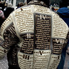 The coolest dude on the streets, back view. The leather jacket is embroidered and embossed with the Bill of Rights.