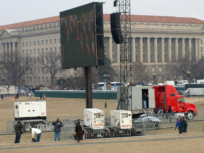 Jumbotrons travel on semis and deploy like field artillery.