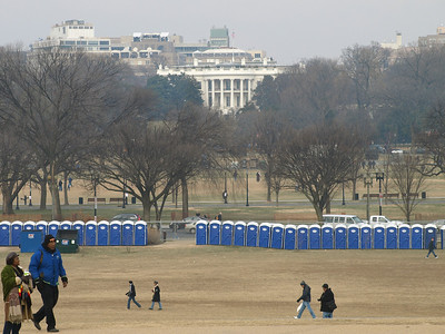 Its budget for fences depleted, the White House surrounded itself with Sani-Johns.