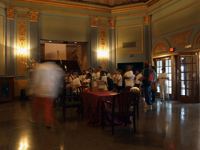 School group tours the lobby of the Lincoln Theater, Washington, DC, July 11, 2008.