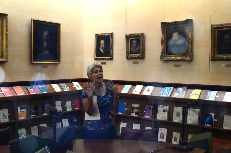 A docent relates the significance of the fake or tribute portraits of William Shakespeare at the Folger Shakespeare Library, Washington DC.