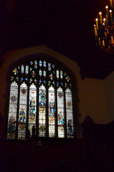 Reading room tour highlights the Seven Ages of Man stained glass window at the Folger Shakespeare Library, Washington DC.