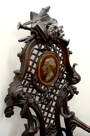 Detail of the Garrick – Hogarth – Shakespeare Chair at the Folger Shakespeare Library, Washington DC.