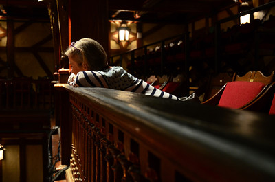 Enjoying the balcony of the theater at the Folger Shakespeare Library, Washington DC.