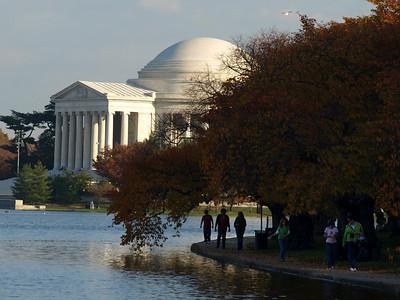 Fall leaves, cherry trees, Jefferson Memorial, Tidal Basin, Washington, DC. Lincoln Memorial