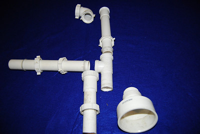 Most are Keeney Manufacturing company products and were purchased from Lowes and include (part No.):The parts consists of: 1. 90 degree coupler (30501WK) 2. 14 inch end outlet disposer kit (334WK) 3. one straight slip pipe (40-12WK) 4. one 1 1/2 inch to 3 inch adapter  5. one 1 1/2 inch slip joint to threaded adapter