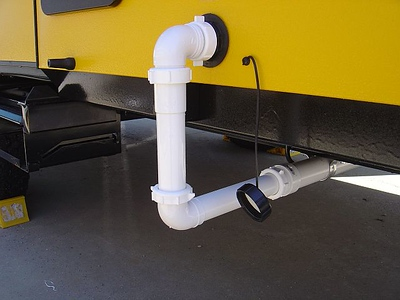Shower drain connected to camper