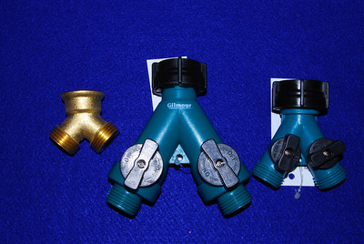 "If you have both a sink and a shower, you will need to connect both hoses together and then run a third hose to either a gray water tote or the sewer.  You can use either the brass Y connector (left) or a full volume Y connect with valves (middle). Because of the restriction cause by the valves, I don't recommend the normal ""Y"" connector (right)"