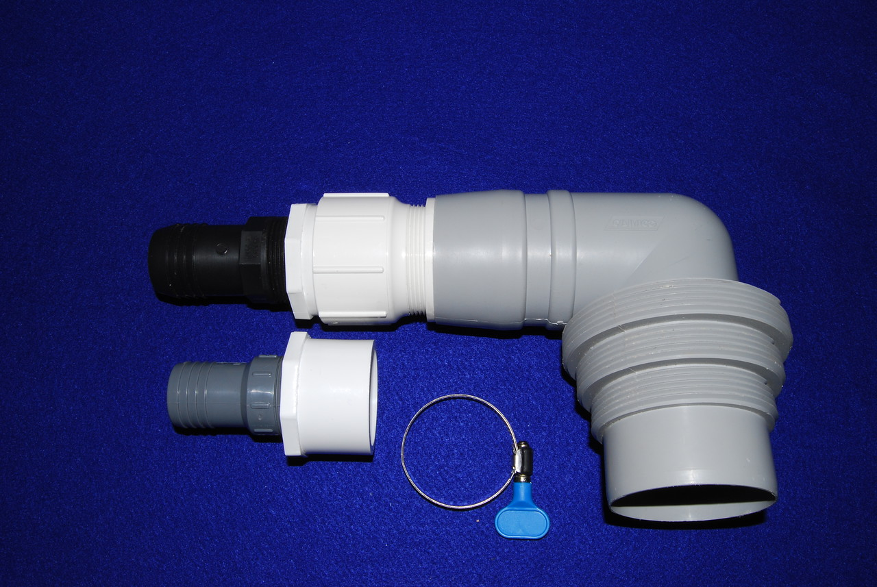 The completed sewer drain adapter for either 1 1/2 inch (with Black hose adapter) or 1 1/4 inch (with Gray adapter)